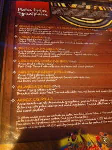El menu de La Fonda, con todos los platos en Español y después en Ingles.