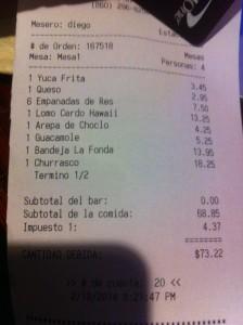 La cuenta de nuestra cena, con todos los platos en Español.