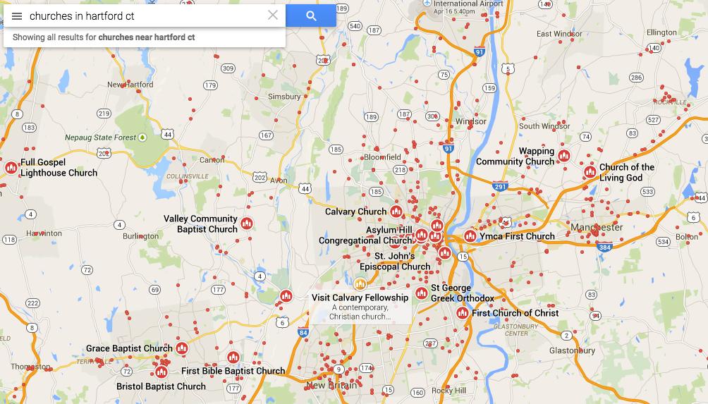 Todas las iglesias en Hartford